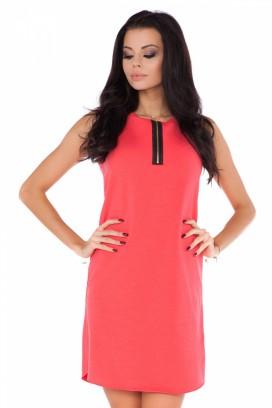 Krátke oranžové šaty bez rukávov model 71171 RW