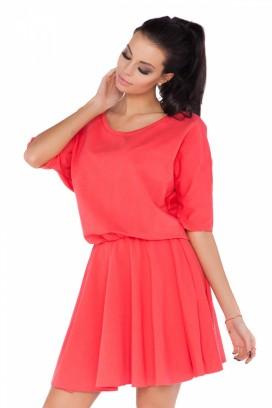 Krátke oranžové šaty s nariasenou sukňou model 71186 RW