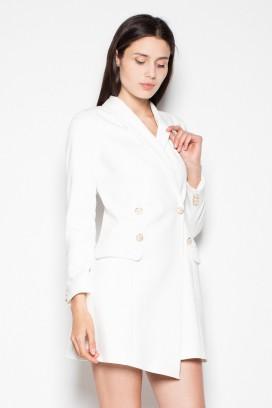 Krátke biele sakové šaty s dlhými rukávmi model 77182 VT
