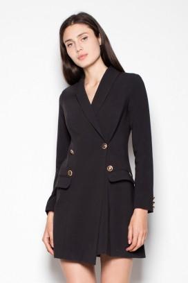 Krátke čierne sakové šaty s dlhými rukávmi model 77183 VT