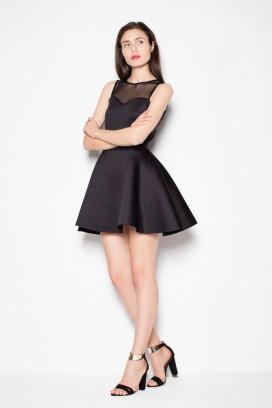 Krátke čierne spoločenské šaty s priesvitným dekoltom a širokou sukňou model 77200 VT
