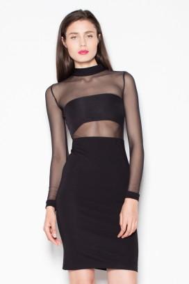 Krátke čierne úzke šaty s priesvitnými rukávmi model 77232 VT