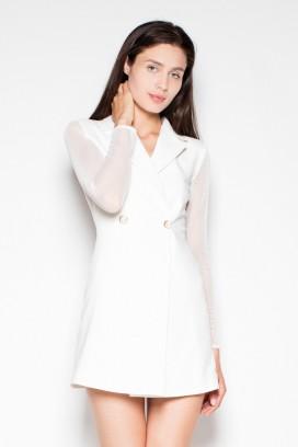 Krátke biele sakové šaty s priesvitnými rukávmi model 77242 VT