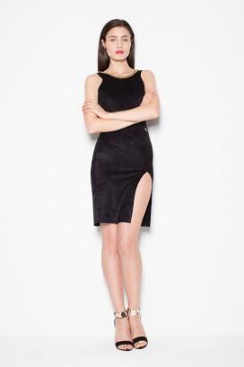 Krátke čierne úzke šaty s rozparkom model 77245 VT