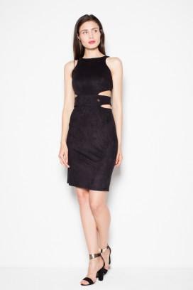 Krátke čierne semišové úzke šaty model 77250 VT