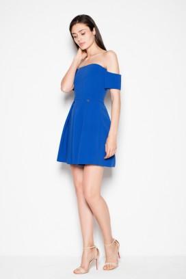 Krátke modré šaty s odhalenými ramenami model 77259 VT