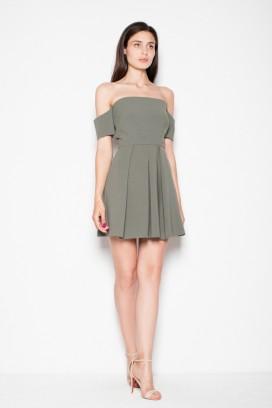 Krátke zelené šaty s odhalenými ramenami model 77260 VT