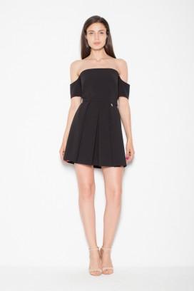 Krátke čierne šaty s odhalenými ramenami model 77261 VT