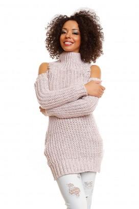 Ružový dlhý rolákový sveter s otvormi na ramenách model 84343 PB