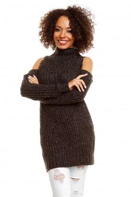 Čierny dlhý rolákový sveter s otvormi na ramenách model 84347 PB