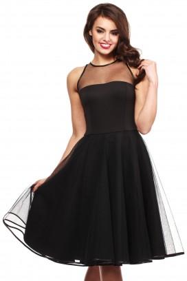 Čierne tylové spoločenské midišaty so širokou nazberanou sukňou bez rukávov model 36186 mE