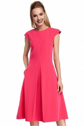 Malinové šaty so skladanou sukňou a krátkymi rukávmi model 85020 me