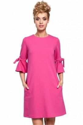 Krátke ružové voľné šaty s 3/4 volánovým rukávom model 85054 me
