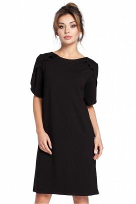Krátke čierne voľné šaty s volánikom na rukávoch model 94561 BE