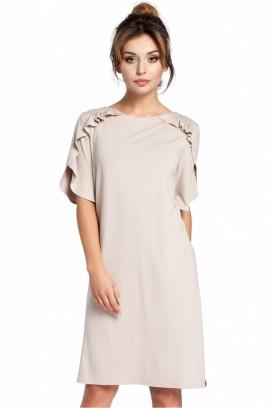 Krátke béžové voľné šaty s volánikom na rukávoch model 94564 BE