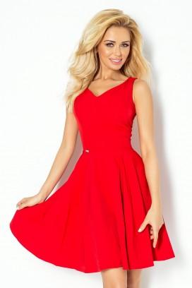 114-3 Krátke červené šaty so srdiečkovým výstrihom a kruhovou sukňou