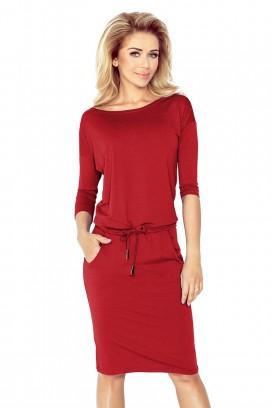 13-66 Krátke tmavočervené športové šaty s vreckami