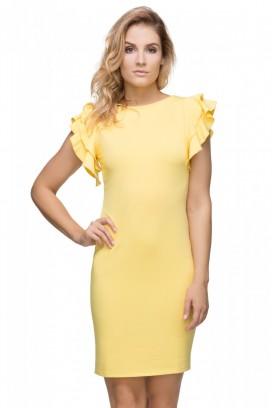 Krátke žlté šaty s volánikom model 107270 ta