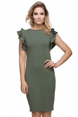 Krátke zelené šaty s volánikom model 107272 ta