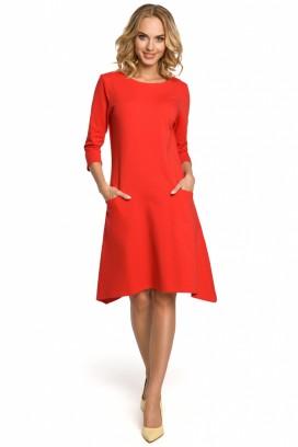 Krátke červené šaty s vreckami model 102640 me