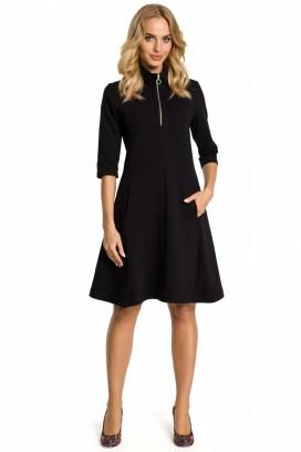 Krátke čierne šaty so zipsom model 107485 me