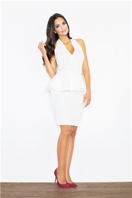 Krátke biele púzdrové koktejlové šaty s volánikom model 48272 fl