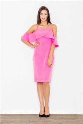 Krátke ružové voľné šaty s volánmi model 60715 fl