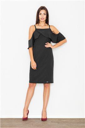 Krátke čierne voľné šaty s volánmi model 60716 fl