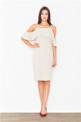 Krátke smotanové voľné šaty s volánmi model 60717 fl