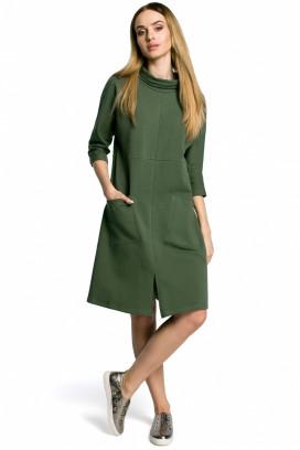 Krátke zelené voľné šaty so stojačikom model 112142 me