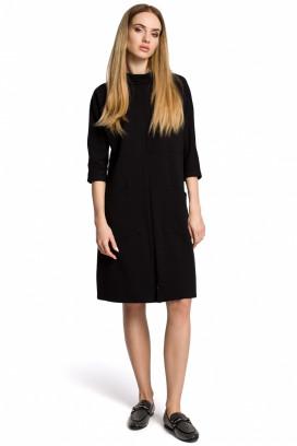 Krátke čierne voľné šaty so stojačikom model 112143 me