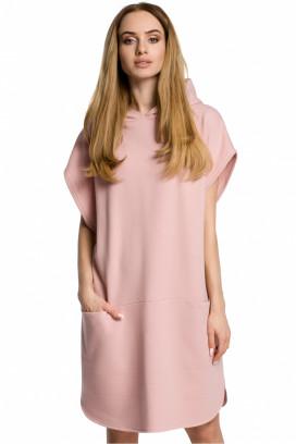 Krátke ružové športové šaty s vreckami a kapucňou model 113801 me