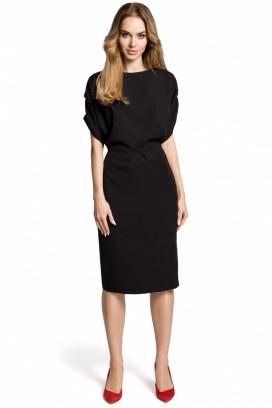 Čierne midišaty s púzdrovou sukňou a krátkymi rukávmi model 113818 me