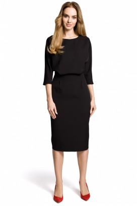 Čierne midišaty s púzdrovou sukňou a 3/4 rukávmi model 112114 me