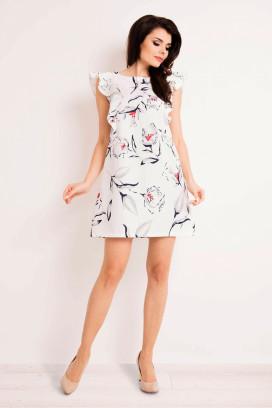 Krátke biele šaty s volánovým rukávom a potlačou kvetín model 80749 iy