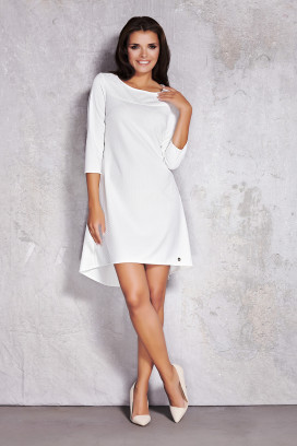Krátke biele voľné šaty s 3/4 rukávom model 35735 iy