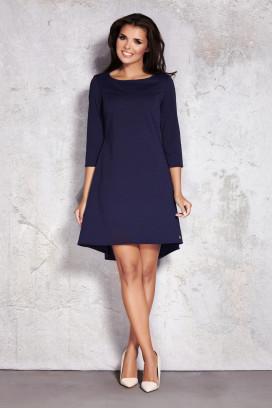 Krátke tmavomodré voľné šaty s 3/4 rukávom model 35736 iy