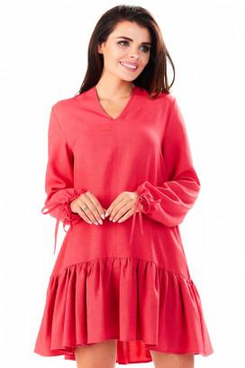 Krátke červené šaty s volánom a dlhým rukávom model 104140 iy
