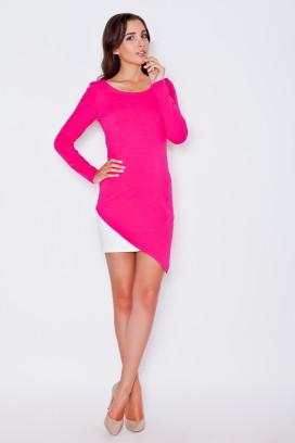Krátke ružovo-biele asymetrické úzke šaty s dlhým rukávom model 43924 ks