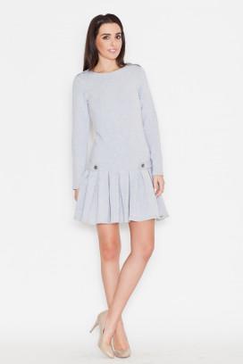 Krátke šedé šaty s nariasenou sukňou a dlhými rukávmi model 44709 ks