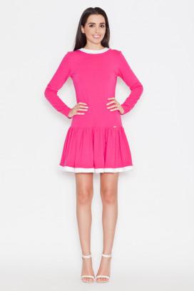 Krátke ružové šaty s bielym lemom a nariasenou sukňou model 44710 ks