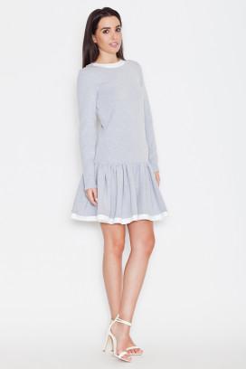 Krátke šedé šaty s bielym lemom a nariasenou sukňou model 44712 ks
