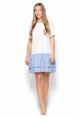 Krátke biele šaty s modrými volánmi model 77026 ks