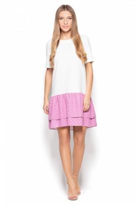 Krátke biele šaty s ružovými volánmi model 77027 ks