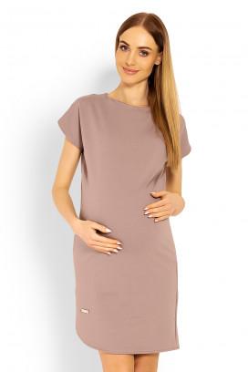 Tehotenské béžové šaty s krátkym rukávom model 114497 Pb
