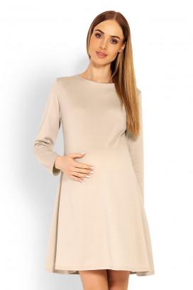 Tehotenské béžové šaty s kruhovou sukňou a dlhým rukávom model 114504 Pb
