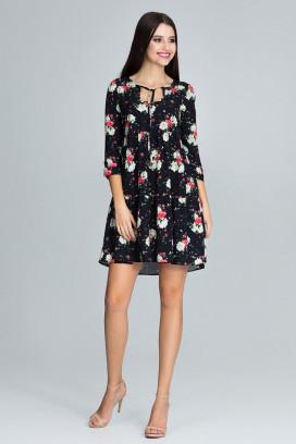 Krátke čierne voľné šaty s kvetinami a 3/4 rukávom model 116238 fl