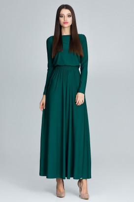 Dlhé zelené maxišaty s nariasenou širokou sukňou a dlhými rukávmi model 116268 fl