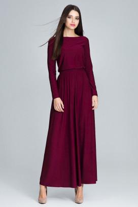 Dlhé bordové maxišaty s nariasenou širokou sukňou a dlhými rukávmi model 116269 fl