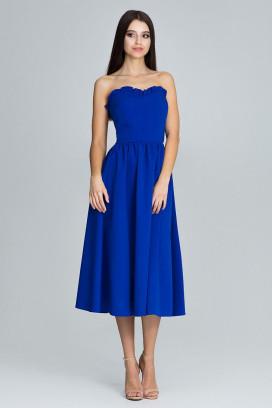 Modré midišaty s korzetovým topom a širokou nariasenou sukňou model 116337 fl